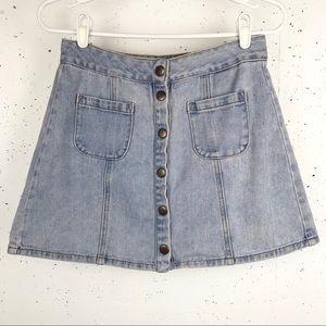 Brandy Melville Bruce Light Denim Wash Mini Skirt